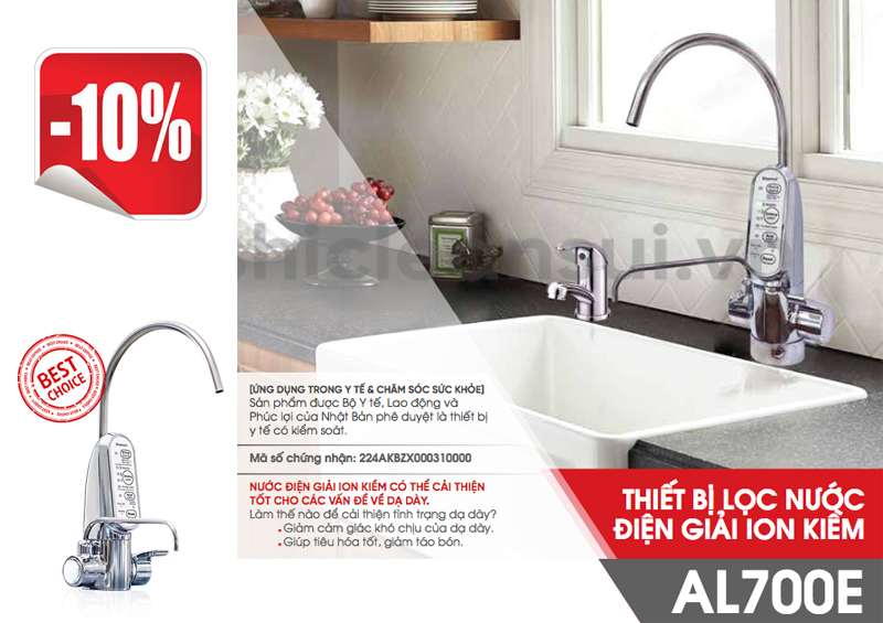 Thiết bị lọc nước TẠO ION KIỀM Cleansui AL700E